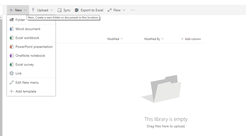 New option in document library showing Edit New menu and Add template options