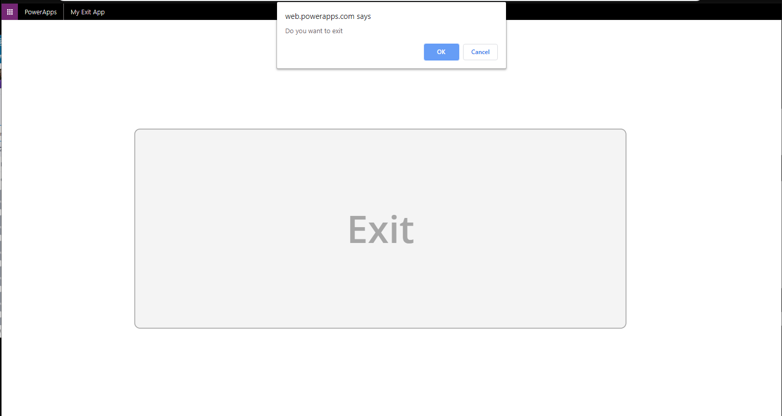 Exit PowerApps, Are you sure? 1