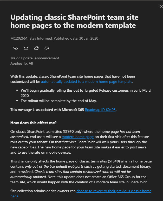 Classic SharePoint upgrade to modern.