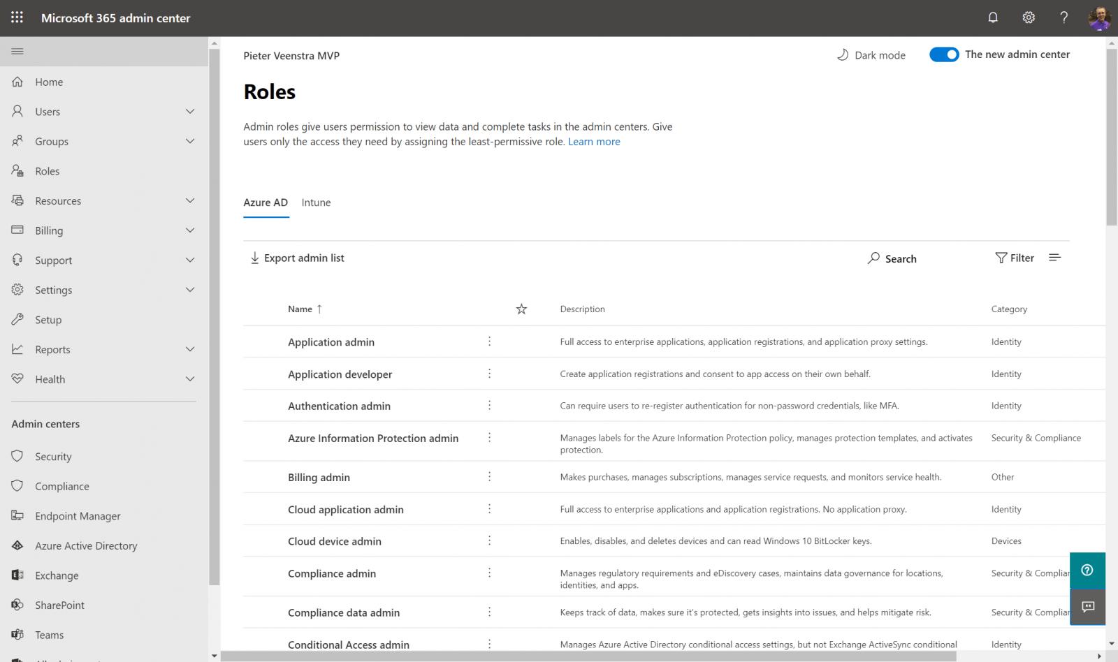 Roles in Microsoft 365