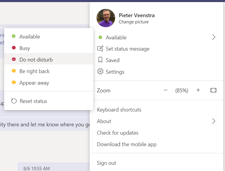 Set Do not Disturb in Microsoft Teams
