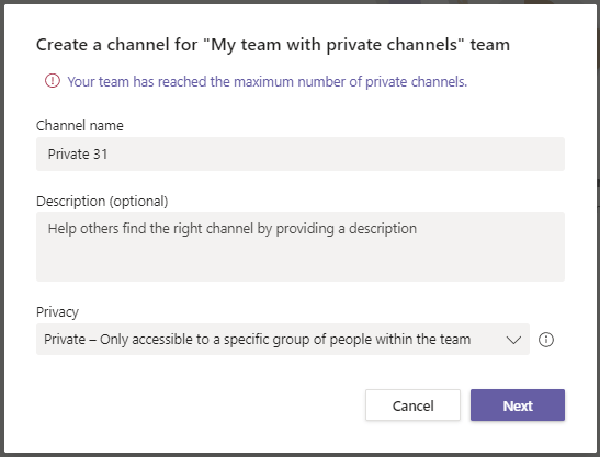 More than 30 Private channels in Microsoft Teams