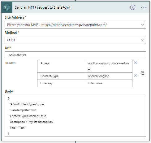 Create a SharePoint list in Power Automate