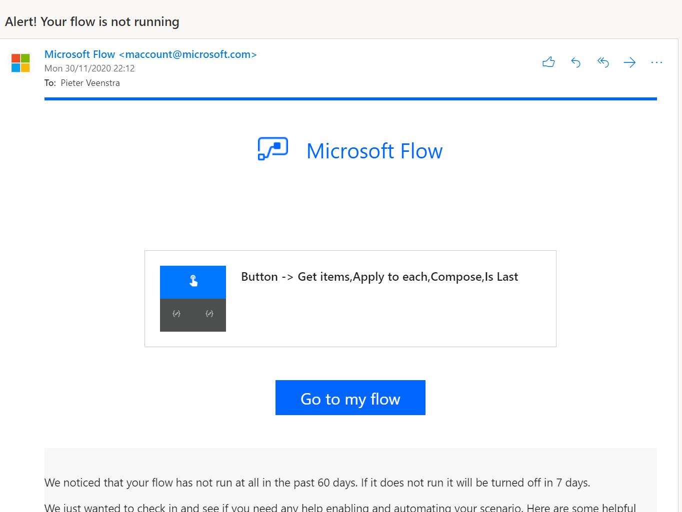 Alert! Your flow is not running